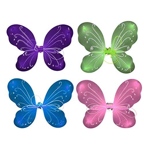 STOBOK 4 stücke Kindertag Kinder Dance Performances Kleidung Flügel Mädchen Schmetterling Leistung Kostüme Kleines Mädchen Rock Requisiten (Rosa, Grün, Lila, ()