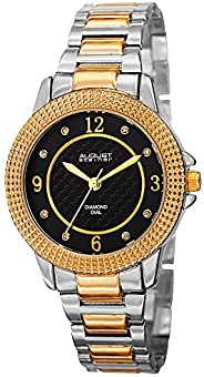 August Steiner Women's Fashion Watch - Textured Black Diamond Dial With Big Number Hour Markers on Two Ton