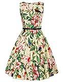 GRACE KARIN Donna Abiti Gonna Eleganti Vestito Anni 50 A-Line Stile Vintage Anni'50 Audrey Hepbun CL6086-56 L