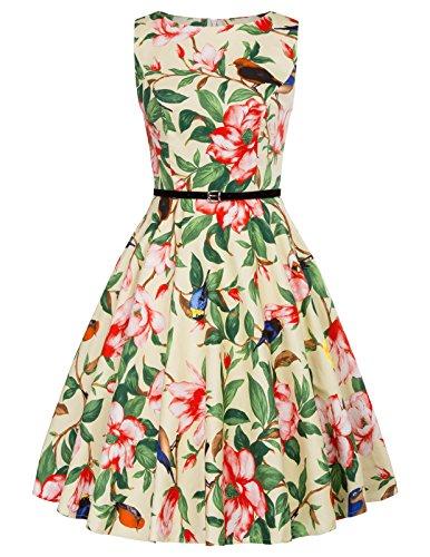 gürtel Kleid Damen Petticoat Kleid Rockabilly Vintage Kleid Cocktail Swing Kleid S ()