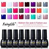 UV nagellack set FairyGlo Pure Series Nail Gel Polish Nagelgel Pure Farbe (6xStück)