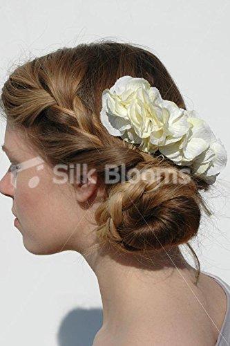 Simple élégant ivoire soie Hortensia artificiel mariage Haircomb