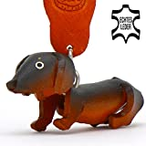 Teckel / Dachshund Dexter - Key-ring Figurine made of leather in 3d by Monkimau - Your best Friend. Always with you! dark brown 5cm small / Category toy cuddly dog statue soft miniature gifts teddy men for women her