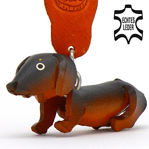 Bassotto dexter–cani portachiavi in pelle di monkimau in marrone, nero (5x 2x 4cm (l x l x a), 1pezzi
