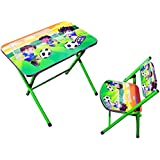 TruGood Foldable Cartoon Table Chair Set for Kids (Multicolour)