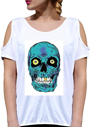 T SHIRT JODE GIRL GGG27 Z2467 BLUE SKULL PUNK ROCK MUSIC AMERICA URBAN STYLE FASHION COOL BIANCA - WHITE