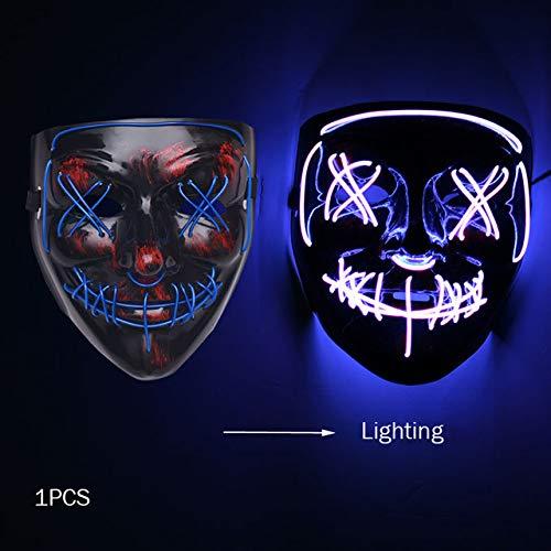 WSJDE Halloween Horror Maske Led Maske Glow In The Dark Kostüm Kinder Spooky Karneval Maske Kostüm Party Dekoration Glowing Demon Evilblau