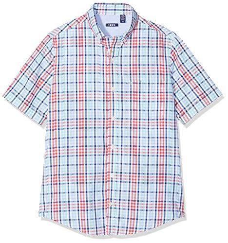 Izod Herren Seersucker Check BD SS Shirt Freizeithemd, Rot (Saltwater Red 648), Medium (Herstellergröße: MD) -