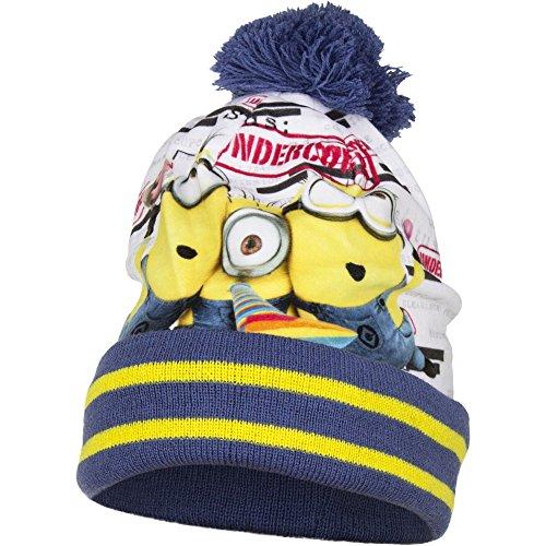 Cappello cuffia con ponpon e risvolto minions colori blu e giallo (blu)