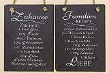 2 x Schild Rezept Zuhause + Familien Schiefer schwarz Höhe 20 cm, Deko, Küche, Wandobjekt