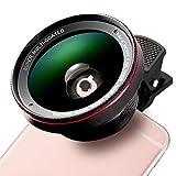 K & F CONCEPT-Obiettivo Cellulare occhio di pesce professionale HD, 0.6angolo ampio, 12.5x lente macro, fisheye con 37MM Clip-on per Apple Iphone 7/7Plus/6S/6S Plus/6/5, Samsung, colore: nero