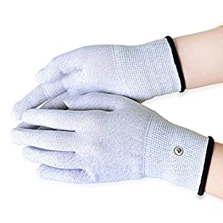 Aituo 1 Pair Silver Conductive Gloves for use with TENS Machine (Meidum)