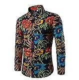 ac1b372f3c94 GOMY Uomo Funky Stampato Biancheria Camicia Manica Lunga Fantasia Floreale  Casuale Shirt Modello Unico. 3 Recensioni