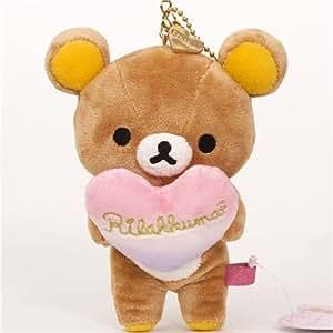 Breloque kawaii peluche Rilakkuma ours brun avec un coeur