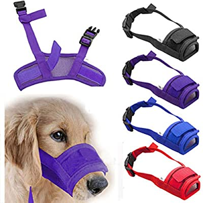 Dachshund Dog Muzzle Size Small Black Breathable Anti Bite Bark Nylon Mesh Comfortable Lightweight Quick Release Muzzel by Eazy Pet
