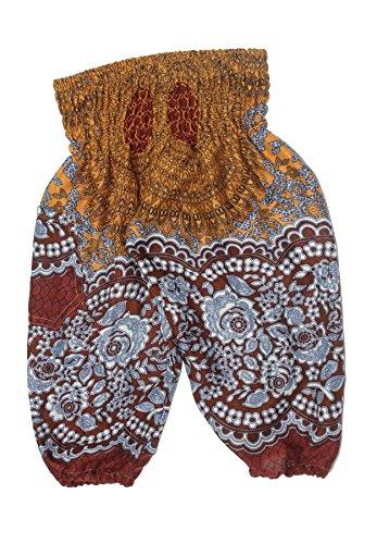 Lofbaz Kinder Boho Hose Hippie Rose Flower Aladdin Boho Braun Größe 3T