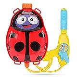Mochila con pistola de agua, para niños, para piscina y playa, Red Ladybug