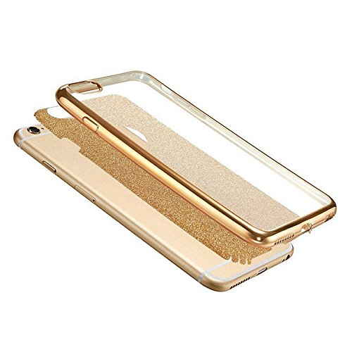 Sycode Custodia Cover per iPhone 6S Plus 5.5,Custodia Bumper per iPhone 6 Plus 5.5,Ultra Slim Resistenti Anti-scratch Soft TPU Silicone Gomma Gel Intarsiato Glitter Brillantini Bling Confine di Plac Oro