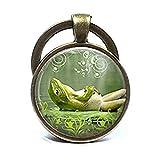Lazy Frosch Schlüsselanhänger Happy Smiling grün Frosch Kröte Einzigartige Art Natur inspiriert Foto Schlüssel Ring Schmuck