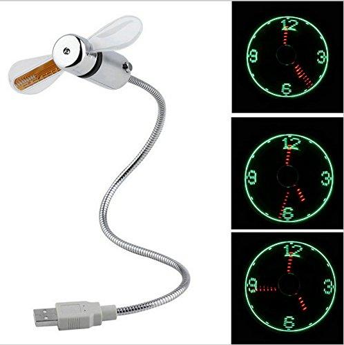 daorier LED USB kleinste Flexibler Schwanenhals Arm leichteste Fan mit Uhr Zeit - Schwanenhals-arm
