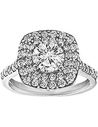 Silvernshine 1.78 Carat White Cubic Zirconia Diamond 18k White Gold Plated Engagement Ring