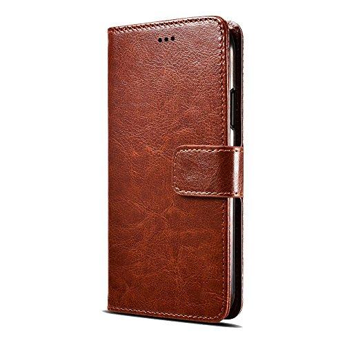 Fertuo Cubot X18 Hülle, Handyhülle Leder Flip Case Brieftasche mit Standfunktion, [Kartenfach] [Magnetverschluss] [Silikon Bumper] Bookstyle Schutzhülle Wallet Cover für Cubot X18, Braun