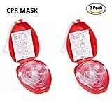 CPR Beatmungsmaske mit Filter,Lifesport 2 Stück CPR Tasche Rescue Maske mit aufgedruckter Ersthelfer-Anleitung und Transportbox Mund-zu-Mund Pocket-Gesichtsmaske Face-Mask.