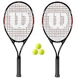 2 x Wilson Fusion XL Raquette de tennis + 3balles RRP £100