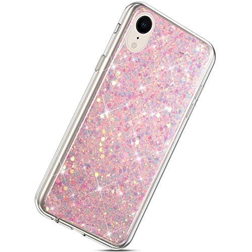 Herbests Kompatibel mit iPhone XR Handyhülle Silikon Glitzer Bling Strass Diamant Handyhülle TPU Silikon Case Schutzhülle Handytasche Durchsichtig Silikon Bumper Tasche,Rosa