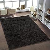 Shaggy Teppich Hochflor Langflor Teppiche fürs Wohnzimmer und Schlafzimmer geeignet sowie für die Küche und Kinderzimmer Ökotex 100 zertifiziert (140x200 cm, schwarz)