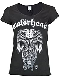 Offizielles Amplified Motörhead Hiro Doppelköpfig Adler Snaggletooth T-Shirt für Damen, Dunkelgrau