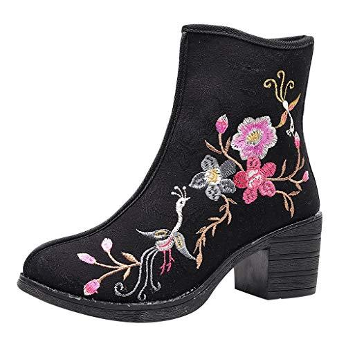 Shenye Frauen Phoenix und Blumen Bestickte Ankle Booties Sport Erhöhen Heel Boots Vintage Stickerei Schuhe Schuhe Chinesischer Stil Schuhe Symbolisiert das Reich und Glück Schuhe -