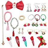 Advent Calendar, DIY Charm Jewellery Countdown to Christams for Girls Kids with Fashion Hair Ties Earring Bracelets Ring and Santa Long Necklace -Gift 24 pcs
