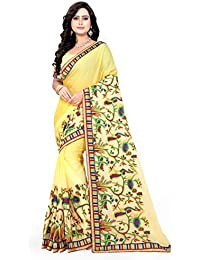 Riva Enterprise Women's New Peding Design Embroidred Work Light Yellow Color Saree (Riva_226)