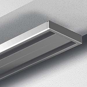 garduna 120cm gardinenschiene vorhangschiene aluminium silber alu silber eloxierte. Black Bedroom Furniture Sets. Home Design Ideas