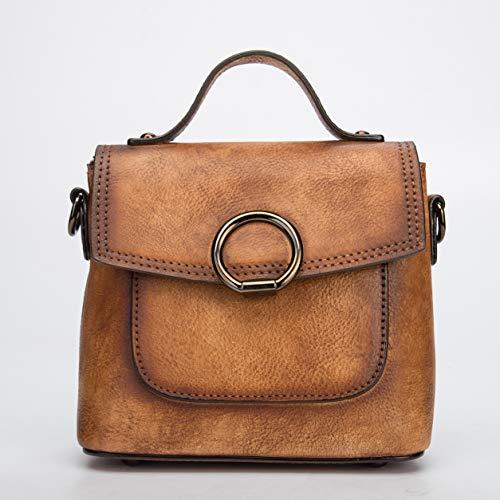 WNLZL Frauen Cross Body Bag Original High-Grade Solid Color weibliche Tasche Top Schicht Leder Multi-Funktion Diagonal Griff Tasche für Reise-Shopping-Geschenk,Yellow -
