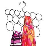 mDesign Percha para bufandas, con sistema anti enredo; organiza corbatas, cinturones, chales, pashminas, accesorios - 16 bucles - Cromado
