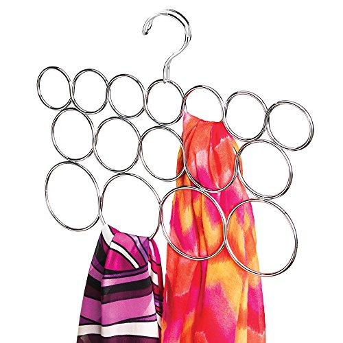 mDesign Schalhalter - Kleiderschrank Organizer für Tücher, Krawatten, Schals, Pashminas, Accessoires u. v. m. - Aufbewahrungssystem aus Metall mit 16 Schlaufen - chrom