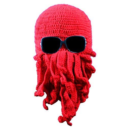 us Cthulhu Knit Mütze winddicht Bart Ski Maske Hat rot ()