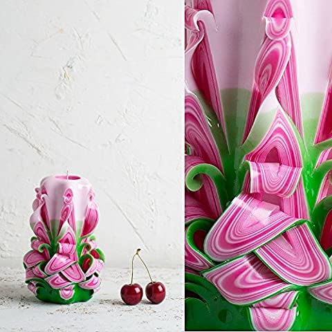 Candle - Hand Carving Sculpture - Small Pink and Green - Vivid Summer Fresh Colors - EveCandles