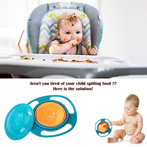 Safe-O-Kid 1 No Spill Gyro Bowl for Baby and Kids, 360 Degree Rotation Spill Proof Food Bowl, Orange and Green, Pack of 1