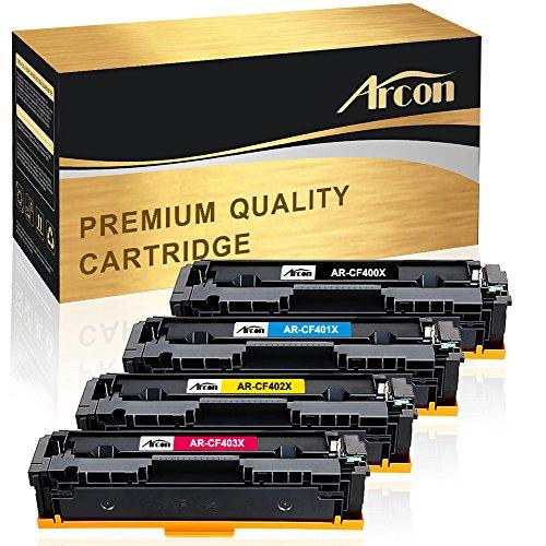 Arcon 4er Set Kompatibel für HP 201X CF400X CF401X CF402X CF403X HP 201A CF400A Toner für HP Color Laserjet Pro M252N M252DN M252DW MFP M274N M274DN M277N M277DW M277 M252 Schwarz Cyan Magenta Gelb