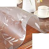 XKQWAN Vidrio Suave del PVC Mantel Impermeable Prueba de quemadura Desechables Estera de Tabla Transparente Esteras Mesa de té Placa de Cristal de Mantel-C 80x140cm(31x55inch)