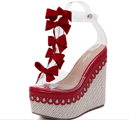 YCMDM Femmes Cool SummerFine The New Slope Bow Toe Talons hauts Sandales Simple Chaussures Red