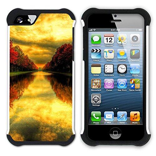 Graphic4You Herbst Leaves Bäume Postkarte Hart + Weiche Kratzfeste Hülle Case Schale Tasche Schutzhülle für Apple iPhone SE / 5 / 5S Design #16