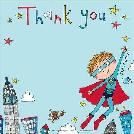"""Rachel Ellen Danksagungs-Karten """"Thank you"""", Motiv """"Superheld"""", 8 Stück"""