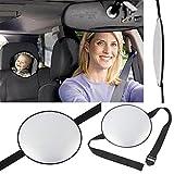 Chytaii Auto Rücksitzspiegel Baby Sicherheit Spiegel Babyspiegel mit einstellbarem Nylonband für Baby Kinder Sicherheitüberwachung Schwarz