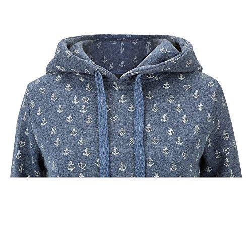 SUBLEVEL Damen Sweatshirt mit Kapuze Freizeit Hoodie mit Anker Print 500C Blau