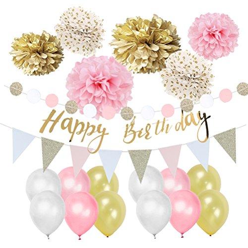 eiß Geburtstag Deko-Set Pastellfarbe Dekor Happy Birthday Girlande Pompoms Luftballons ()