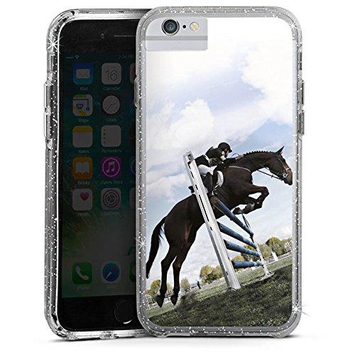 Apple iPhone 8 Bumper Hülle Bumper Case Glitzer Hülle Pferd Horse Reitsport Bumper Case Glitzer silber